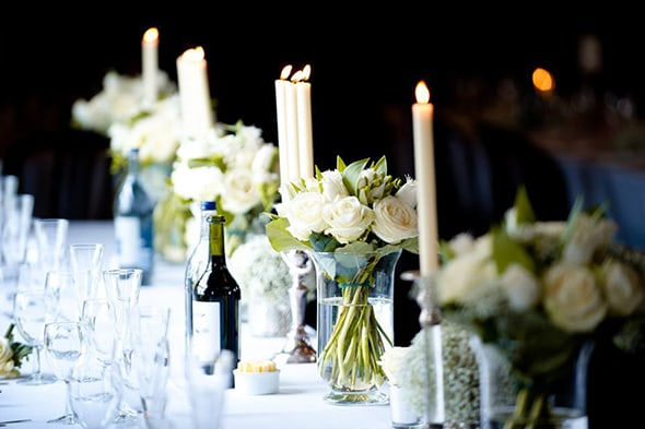 Table setting… candles and flowers