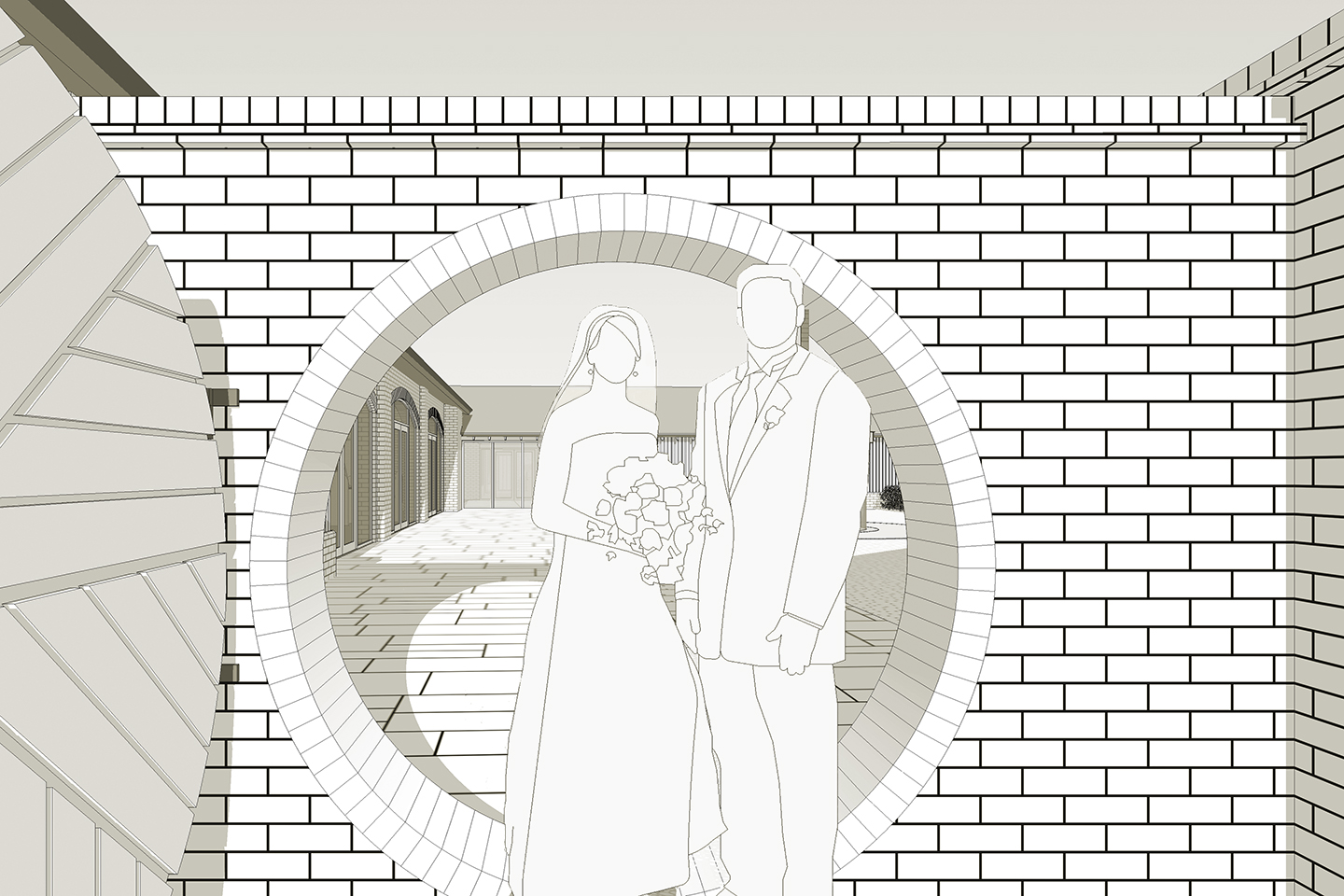 Bride and groom in front of the millstone door