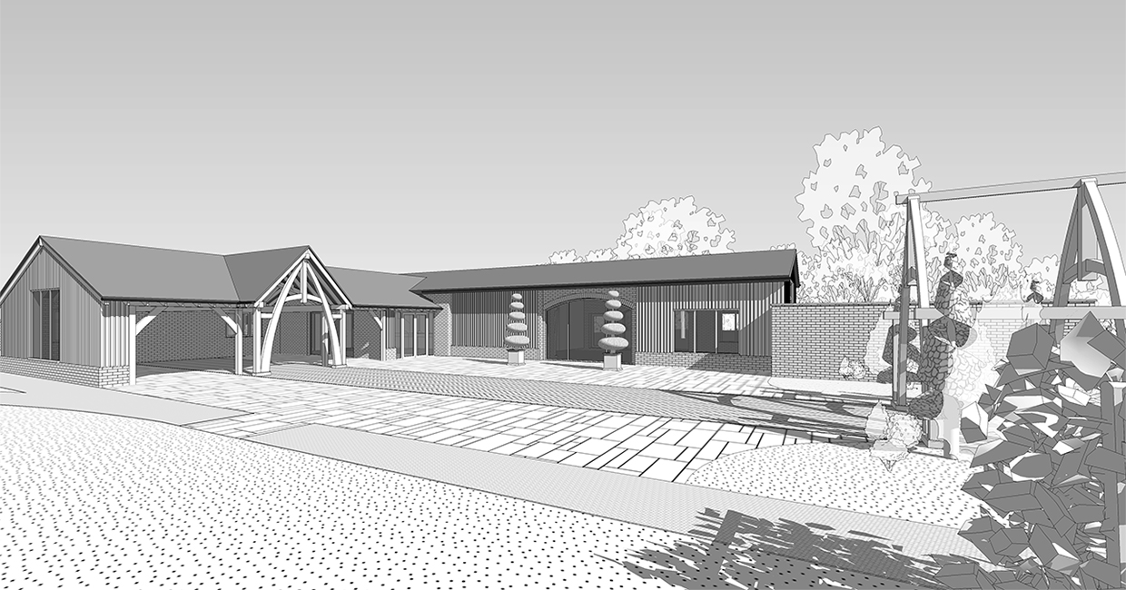 Exterior rendering of the barn and the carridge barn